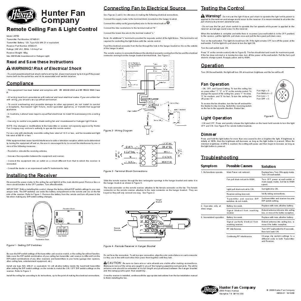 377 Hunter Ceiling Fan 24750 Speedboat Instructions