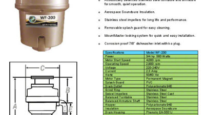 Waste Force WF-200 Waste Disposal Unit, 3/4Hp 12 Year Warranty - 30% off