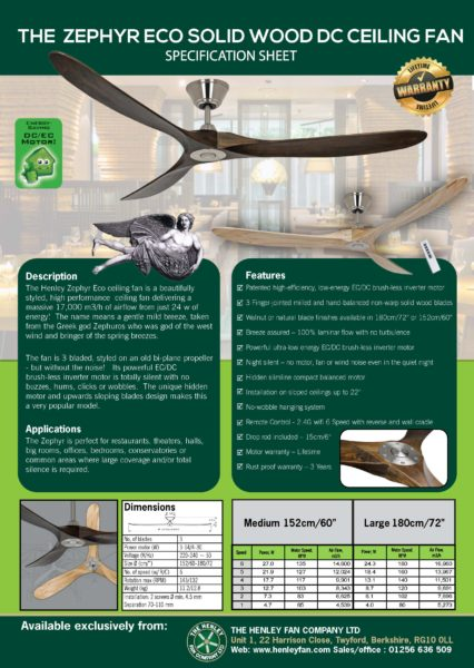 Ceiling Fan With Remote Henley Zephyr Eco Solid Wood Fan