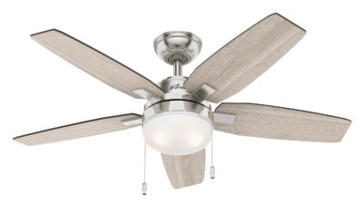 """Hunter Arcot Ceiling Fan with Light - 117cm/46"""" Brushed Nickel"""