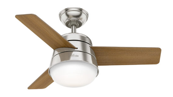 """Hunter Finley Ceiling Fan with Light 91cm/36"""" Brushed Nickel"""